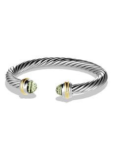 David Yurman Cable Classics Bracelet with Semiprecious Stones & 14K Gold, 7mm