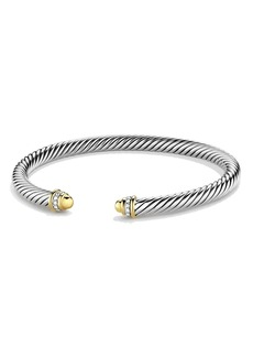 David Yurman Cable Classics Bracelet with 18K Gold Domes & Diamonds, 5mm
