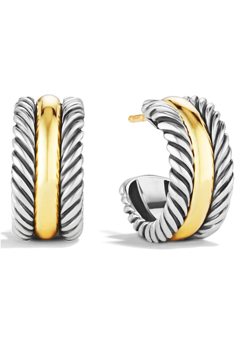 David Yurman 'Cable Classics' Hoop Earrings with Gold in Two Tone at Nordstrom