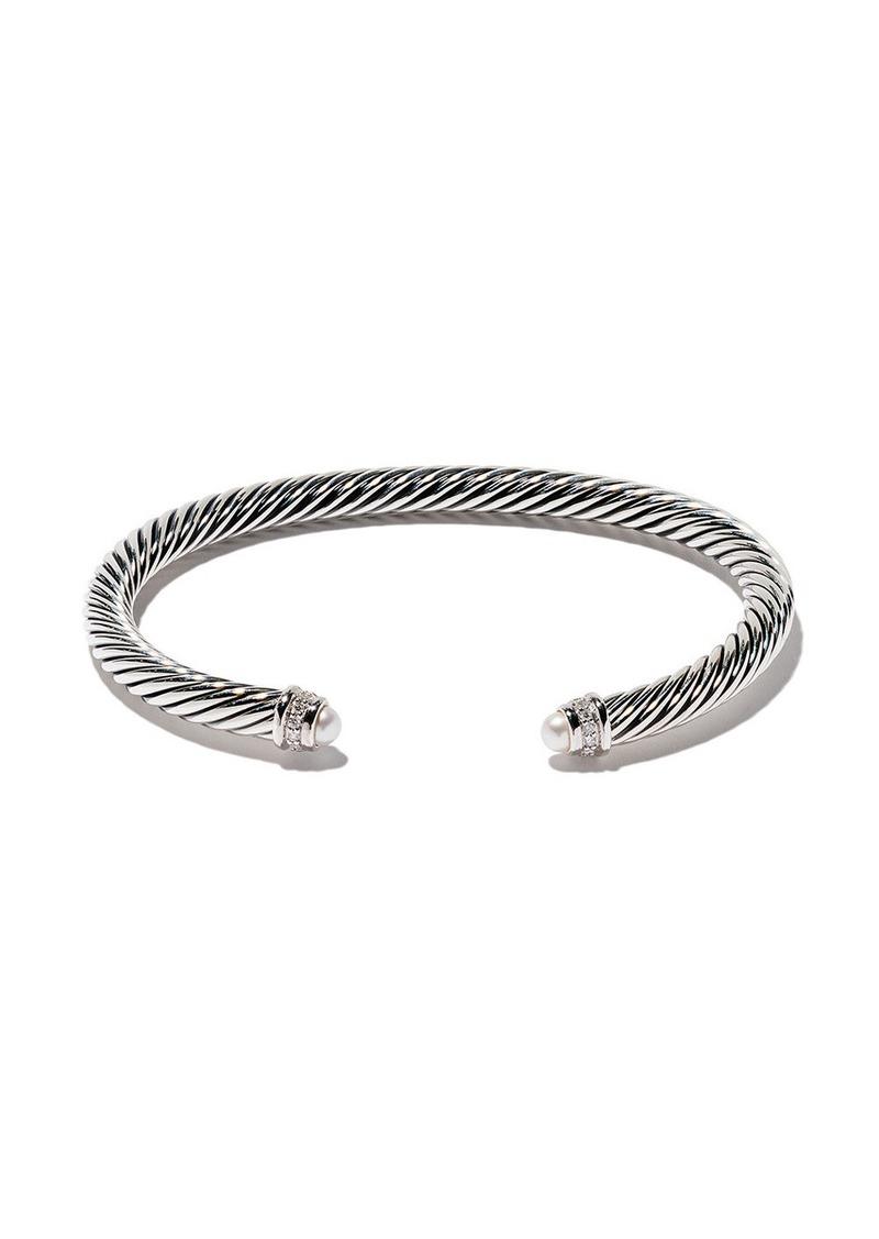 David Yurman sterling silver Cable Classics pearl and diamond cuff bracelet