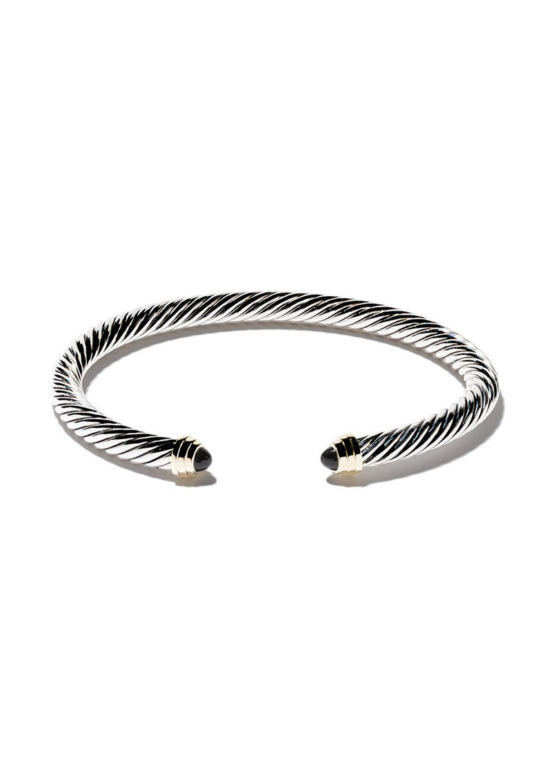 David Yurman Cable Classics sterling silver, onyx & 14kt yellow gold accented cuff bracelet