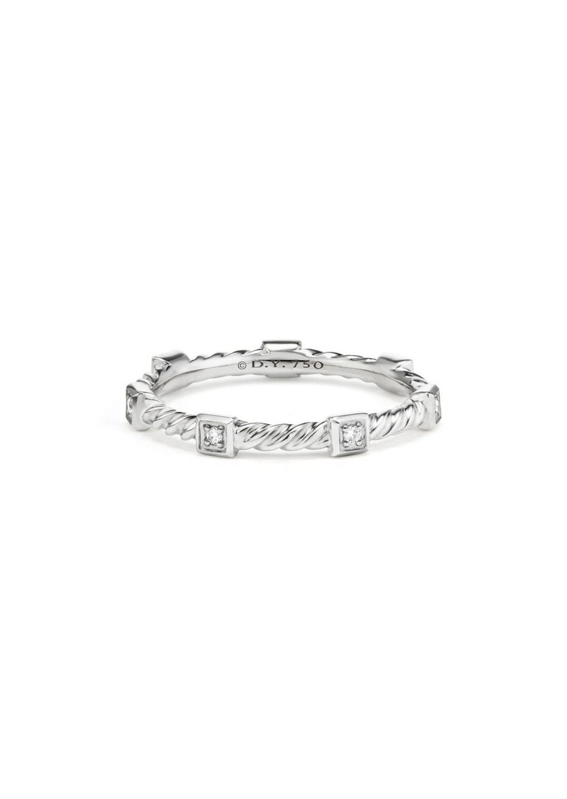 David Yurman Cable Collectibles 18k White Gold Cable Stack Ring with Diamonds