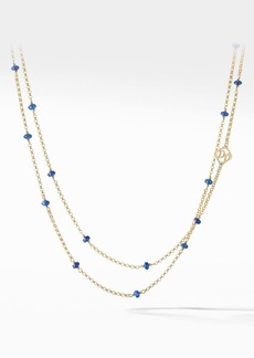 David Yurman Cable Collectibles® Bead and Chain Necklace in 18K Yellow Gold with Blue Sapphires