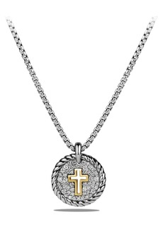 David Yurman 'Cable Collectibles' Cross Charm Necklace with Diamonds & 18K Gold
