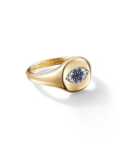 David Yurman Cable Collectibles Evil Eye Mini Pinky Ring in 18K Gold with Diamonds