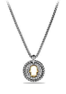 David Yurman 'Cable Collectibles' Hamsa Charm Necklace with Diamonds & 18K Gold