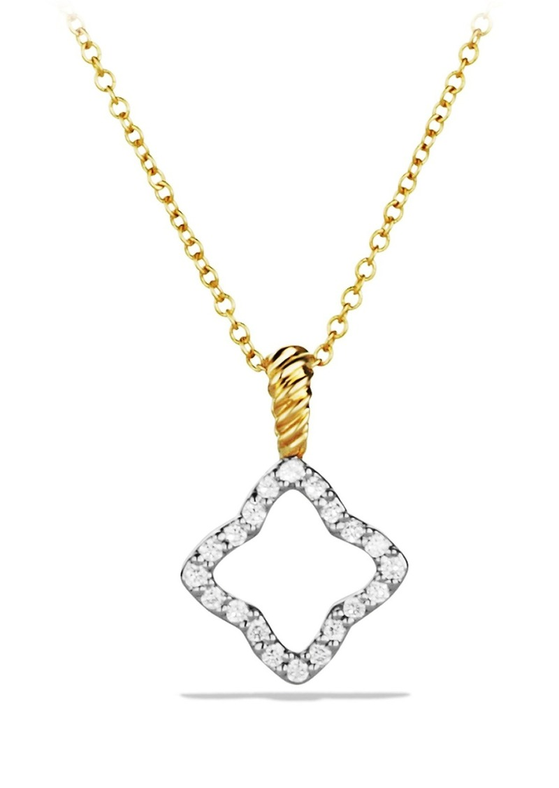 David Yurman 'Cable Collectibles' Quatrefoil Pendant with Diamonds in Gold on Chain