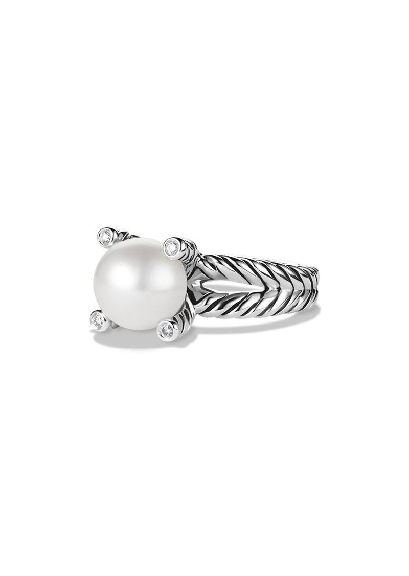 David Yurman Cable Pearl Ring with Diamonds