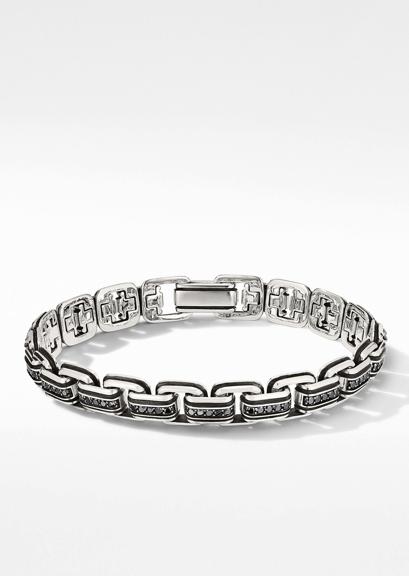 David Yurman Chain Link Bracelet with Pavé Black Diamonds