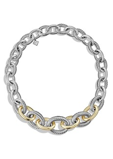 David Yurman 'Chain' Medium Oval Necklace with 14K Gold