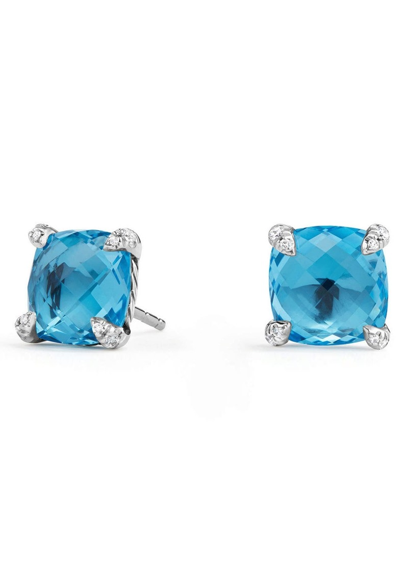 David Yurman Chatelaine Earrings with Diamonds in Blue Topaz? at Nordstrom