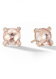 David Yurman Chatelaine® Morganite 18k Rose Gold Stud Earrings with Diamonds