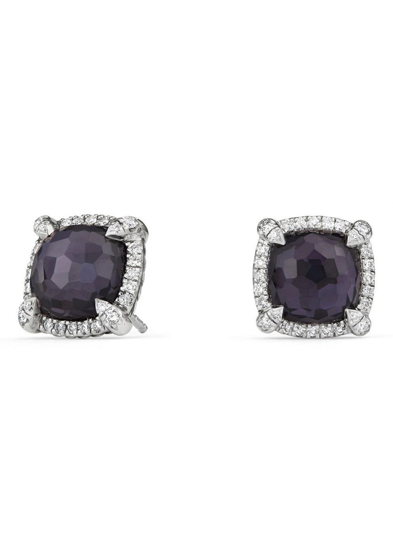 David Yurman Chatelaine Pavé Bezel Earring with Black Orchid and Diamonds, 9mm