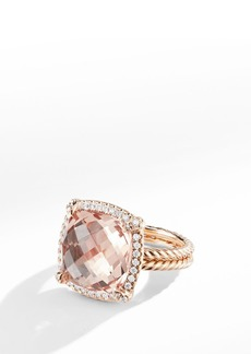 David Yurman Chatelaine Pavé Bezel Ring in 18K Rose Gold with Morganite