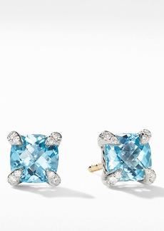 David Yurman Chatelaine® Stud Earrings with Blue Topaz & Diamonds