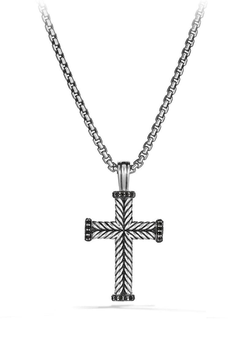 David Yurman Chevron Cross Pendant with Black Diamonds