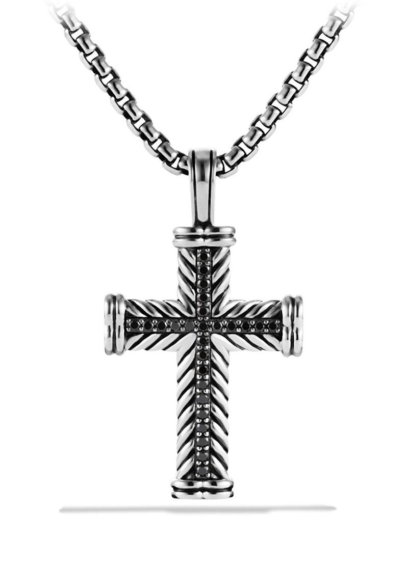 David Yurman 'Chevron' Cross Pendant with Black Diamonds