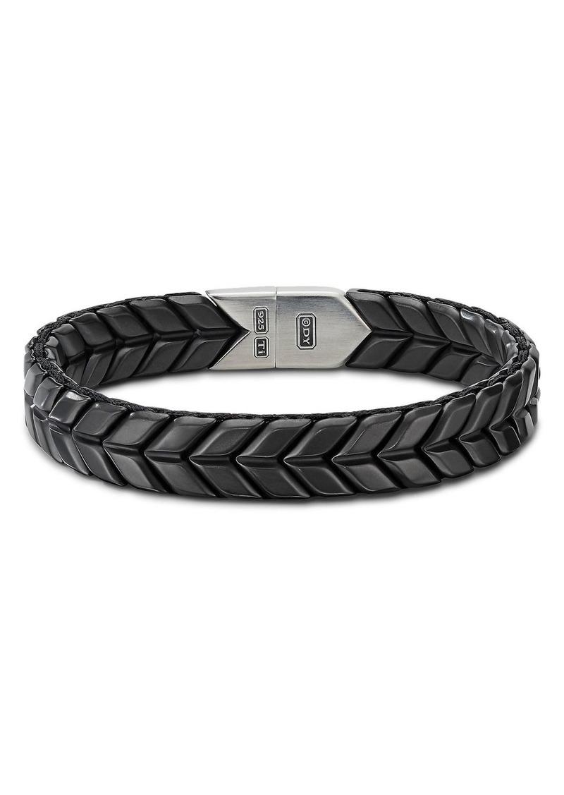 David Yurman Chevron Wide Woven Bracelet in Black Titanium with Sterling Silver