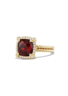 David Yurman Châtelaine Pave Bezel Ring with Garnet and Diamonds in 18K Yellow Gold