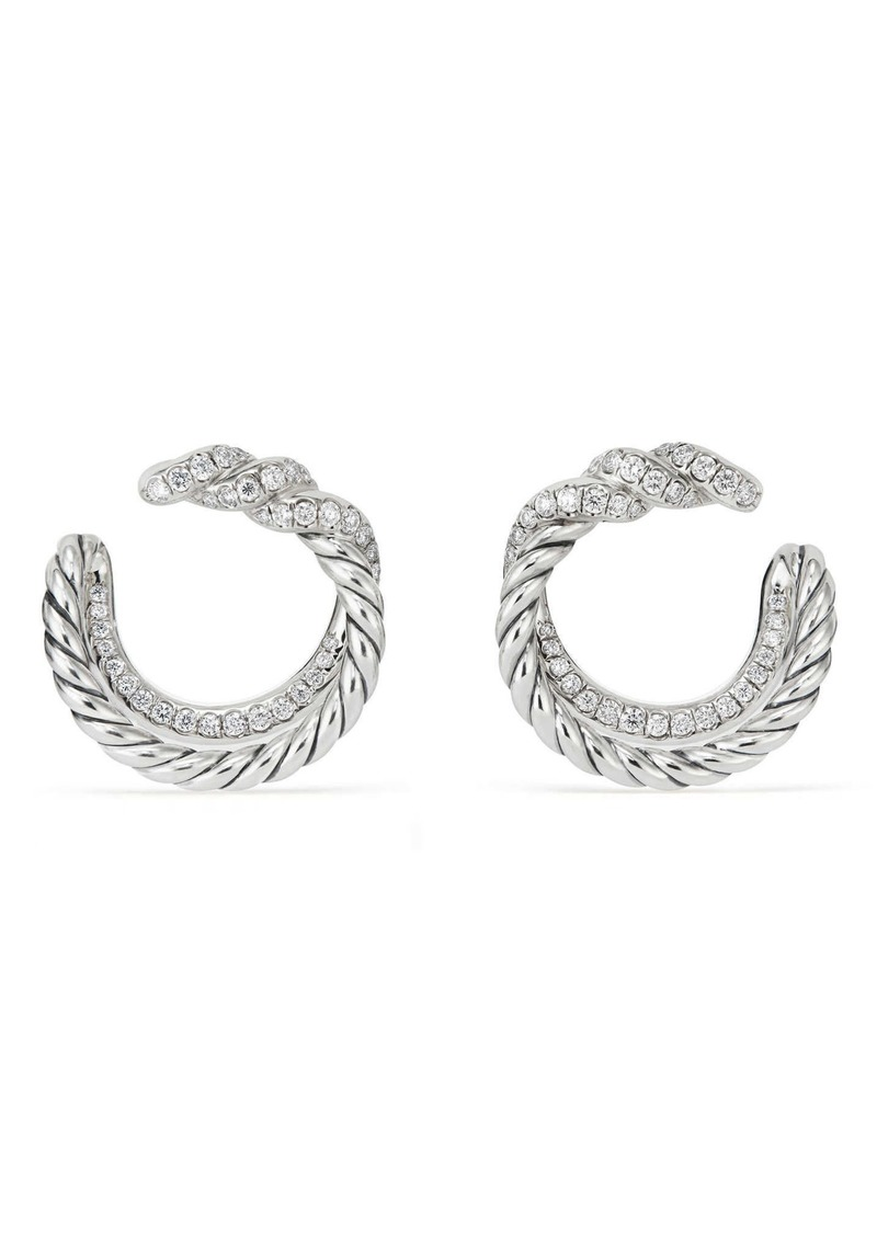 David Yurman Continuance Hoop Earrings with Diamonds in Silver/Diamond at Nordstrom