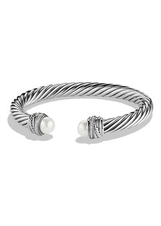 David Yurman Crossover Bracelet with Diamonds, 7mm