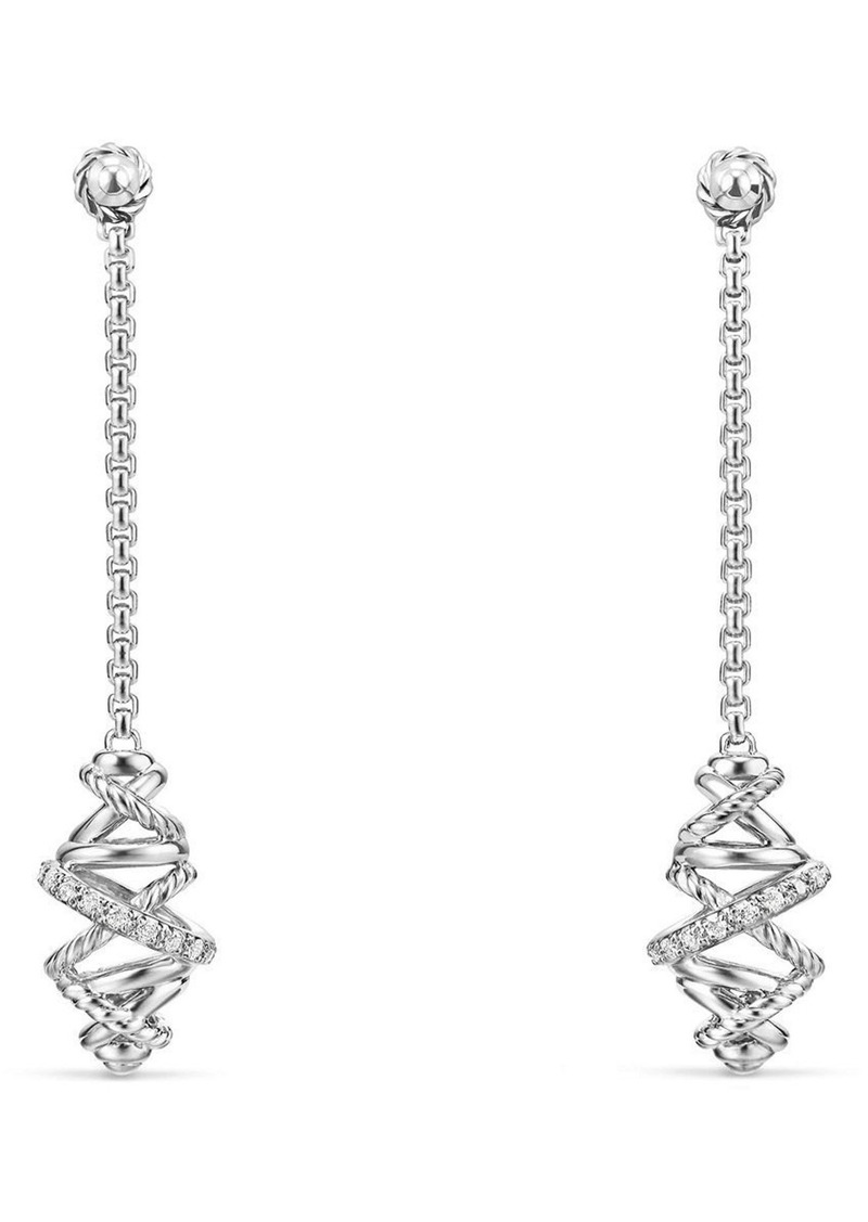 David Yurman Crossover Chain Drop Earrings With Diamonds