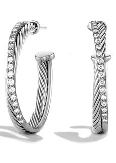 David Yurman 'Crossover' Hoop Earrings with Diamonds