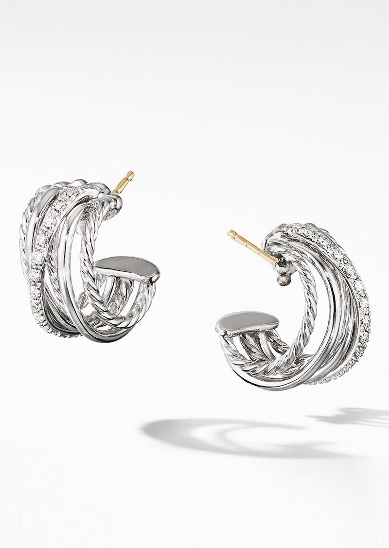 David Yurman Crossover Huggie Hoop Earrings with Diamonds