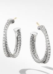 David Yurman Crossover Medium Hoop Earrings with Diamonds
