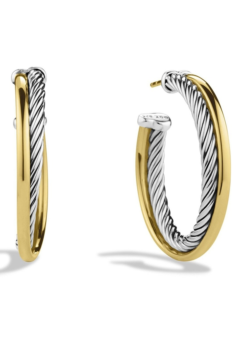David Yurman 'Crossover' Medium Hoop Earrings with Gold