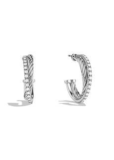 David Yurman 'Crossover' Small Diamond Hoop Earrings