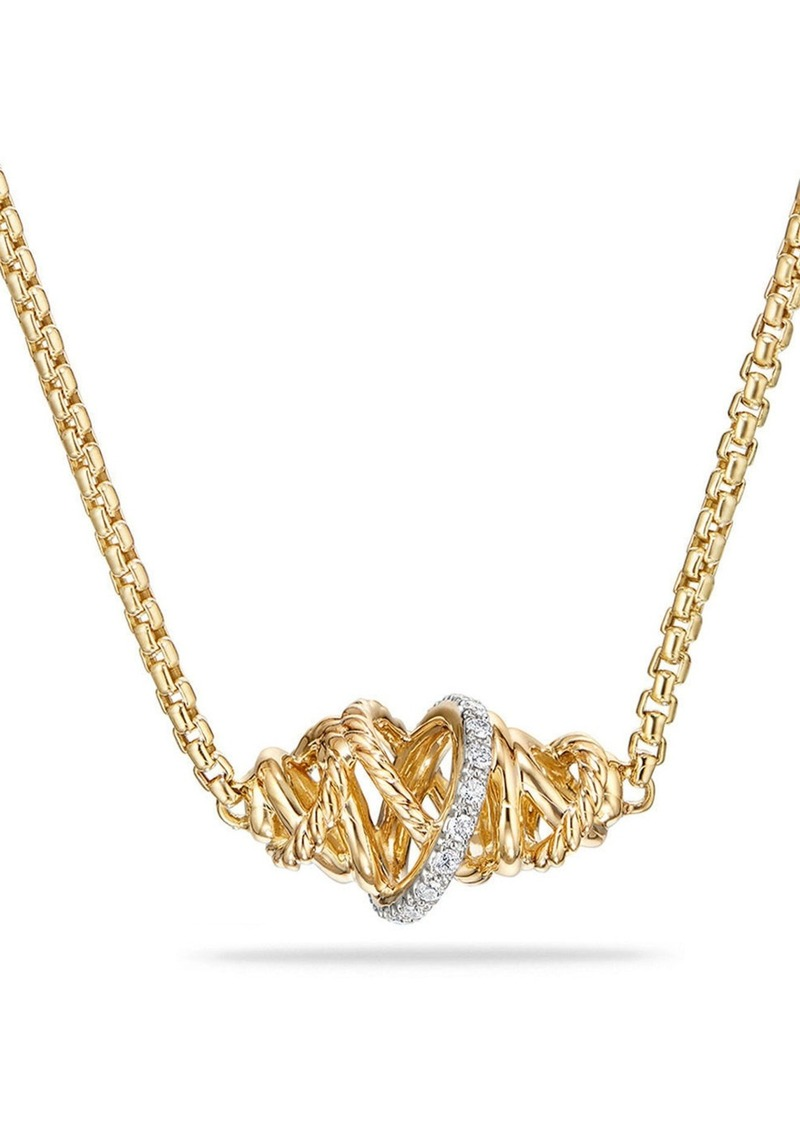 David Yurman Crossover Station Necklace in 18K Gold with Diamonds