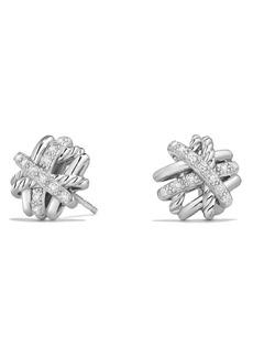 David Yurman Crossover Stud Earrings with Diamonds