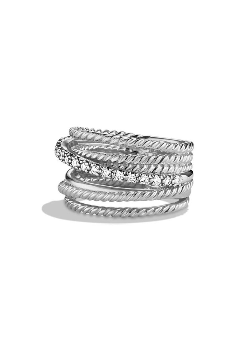 David Yurman 'Crossover' Wide Ring with Diamonds