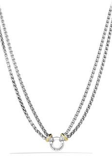 David Yurman 'Double Wheat' Chain Necklace with Gold