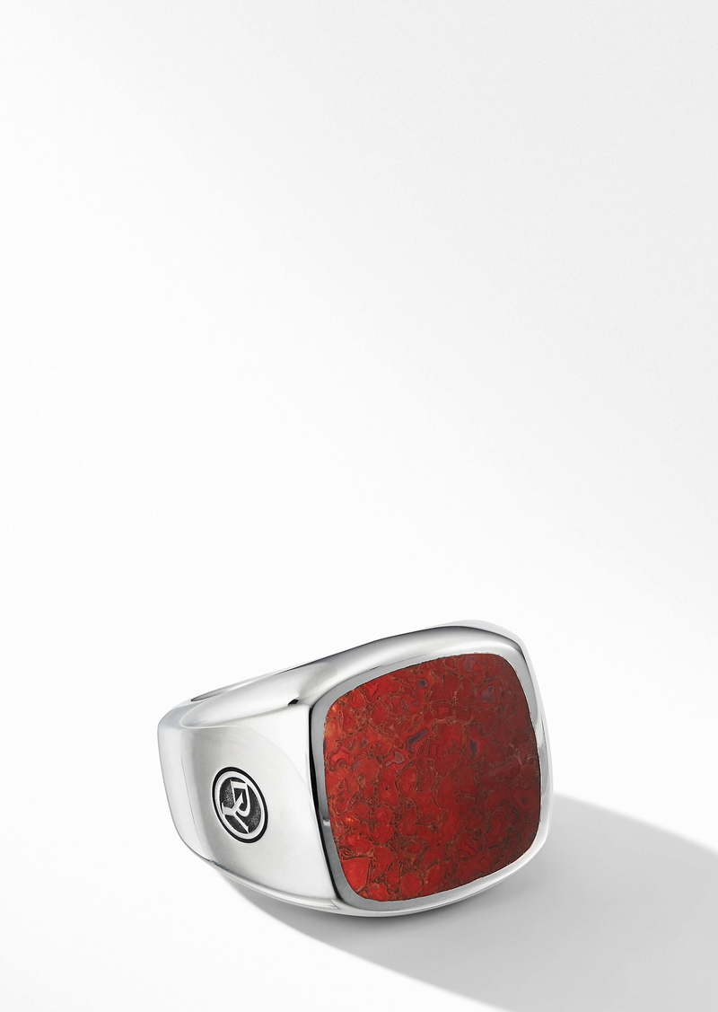 David Yurman Exotic Stone Signet Ring with Red Agate