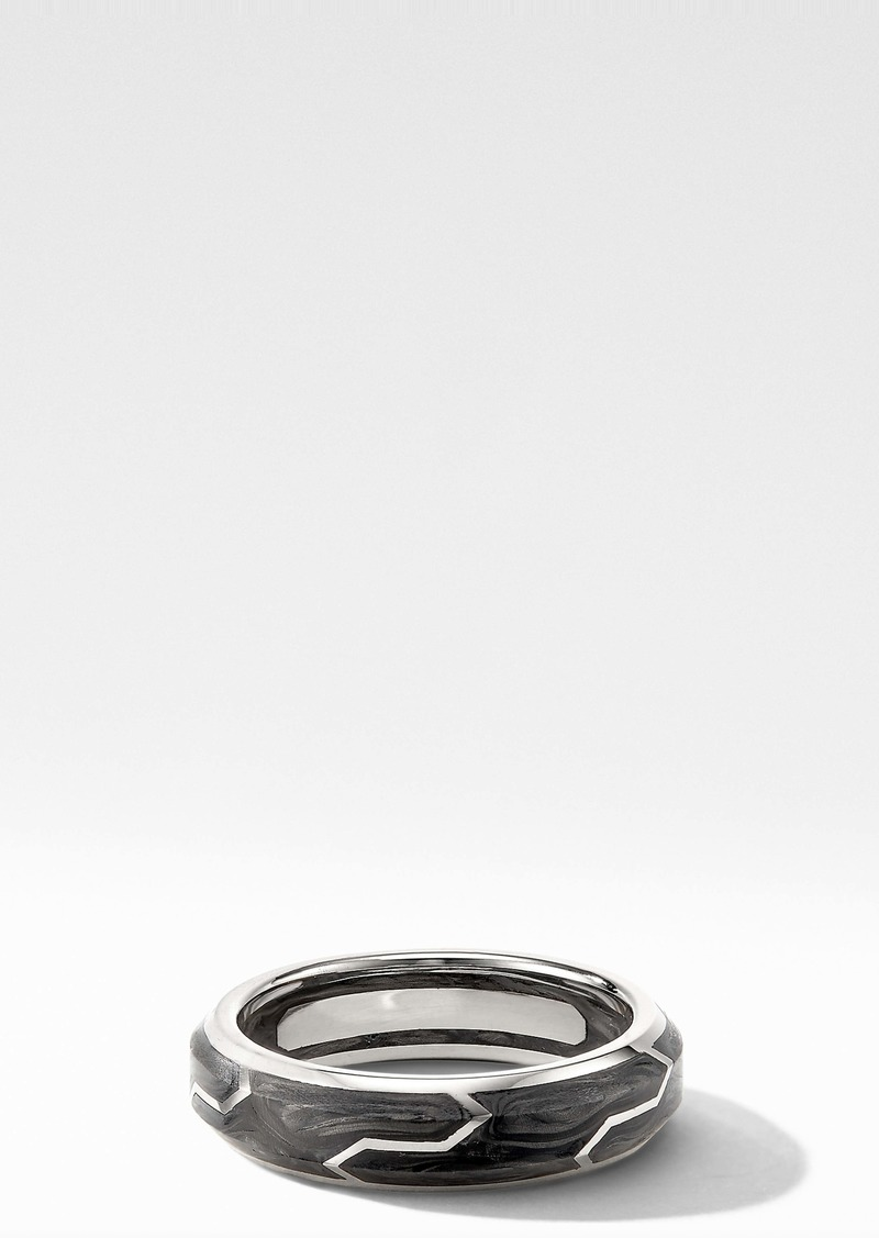 David Yurman Forged Carbon Band Ring in 18K White Gold