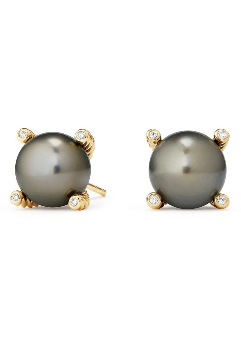 David Yurman Genuine Pearl Earrings with Diamonds in 18K Gold in Gold/Tahitian Grey Pearl at Nordstrom