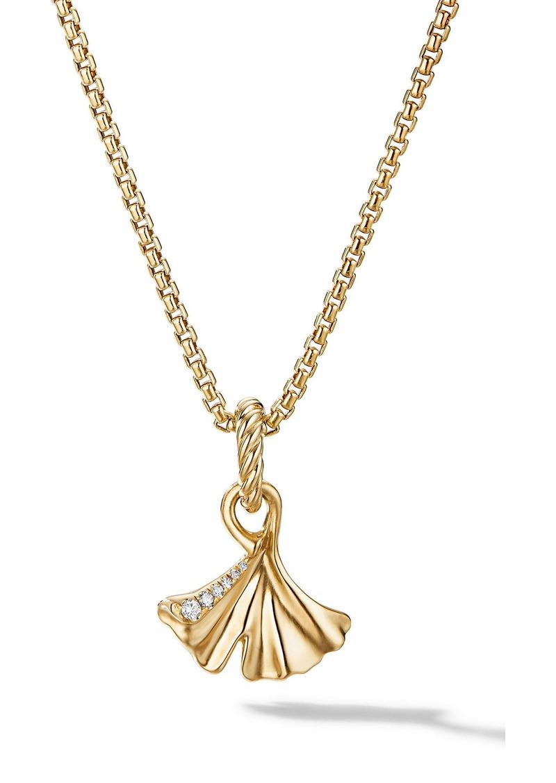 David Yurman Ginkgo 18K Gold & Pavé Diamond Amulet