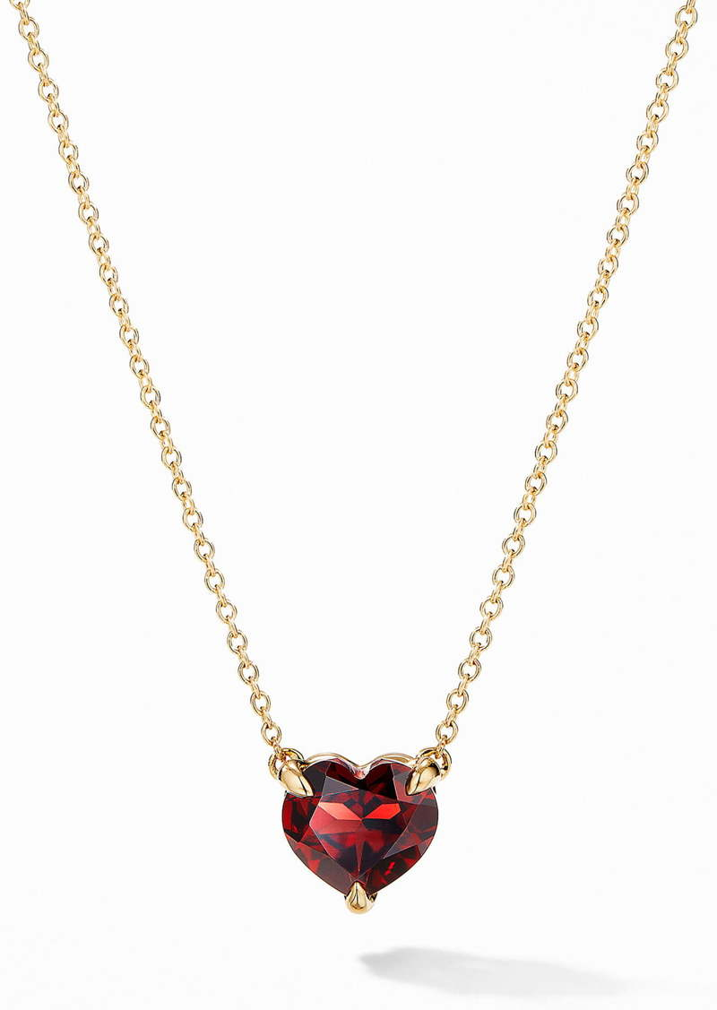 David Yurman Heart Pendant Necklace in 18K Yellow Gold with Garnet