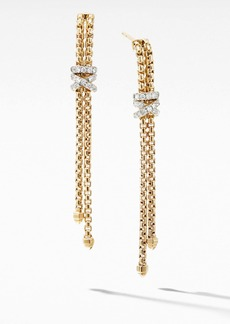 David Yurman Helena Box Chain Earrings in 18K Yellow Gold with Diamonds