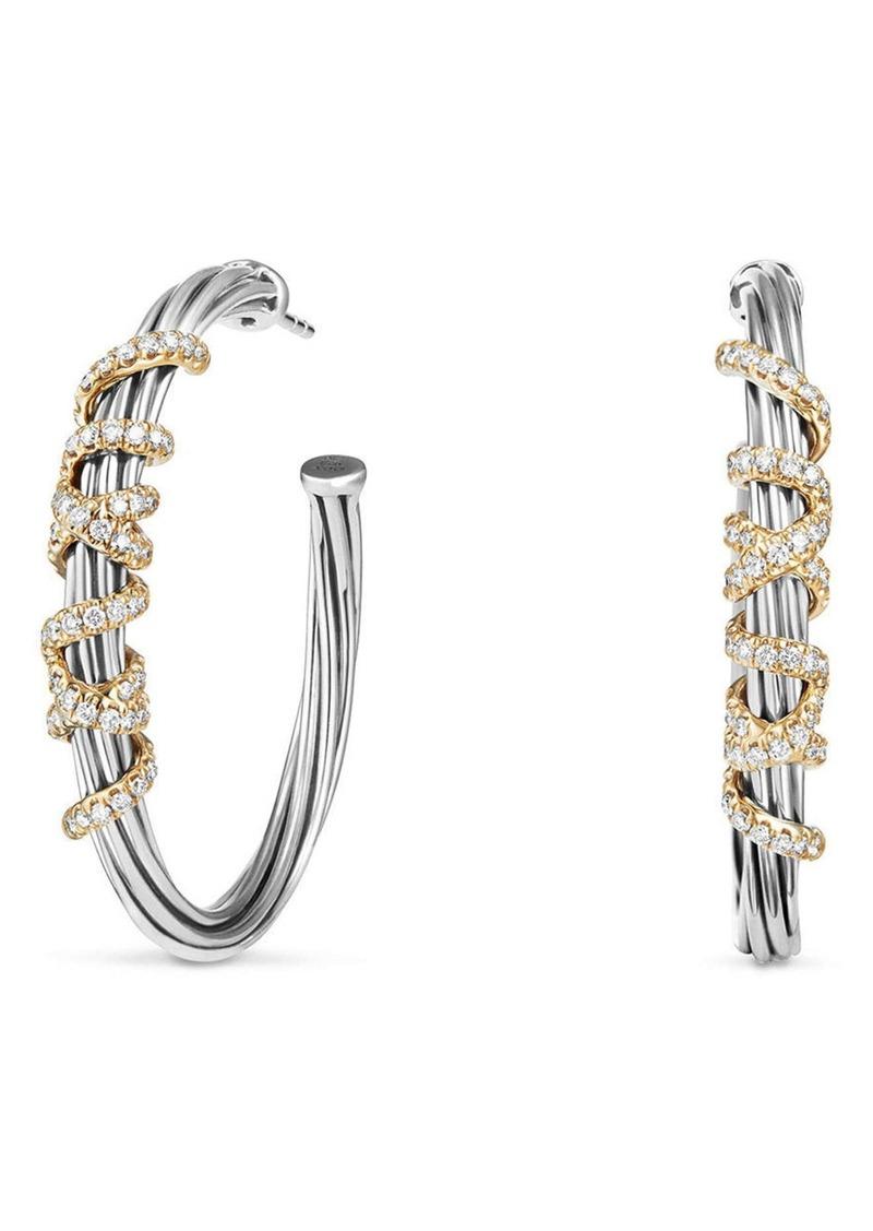 David Yurman Helena Large Hoop Earrings with Diamonds & 18K Gold