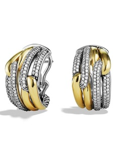 David Yurman 'Labyrinth' Double Loop Earrings with Diamonds in Gold