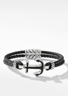 David Yurman Maritime® Anchor Station Black Leather Bracelet with Black Onyx