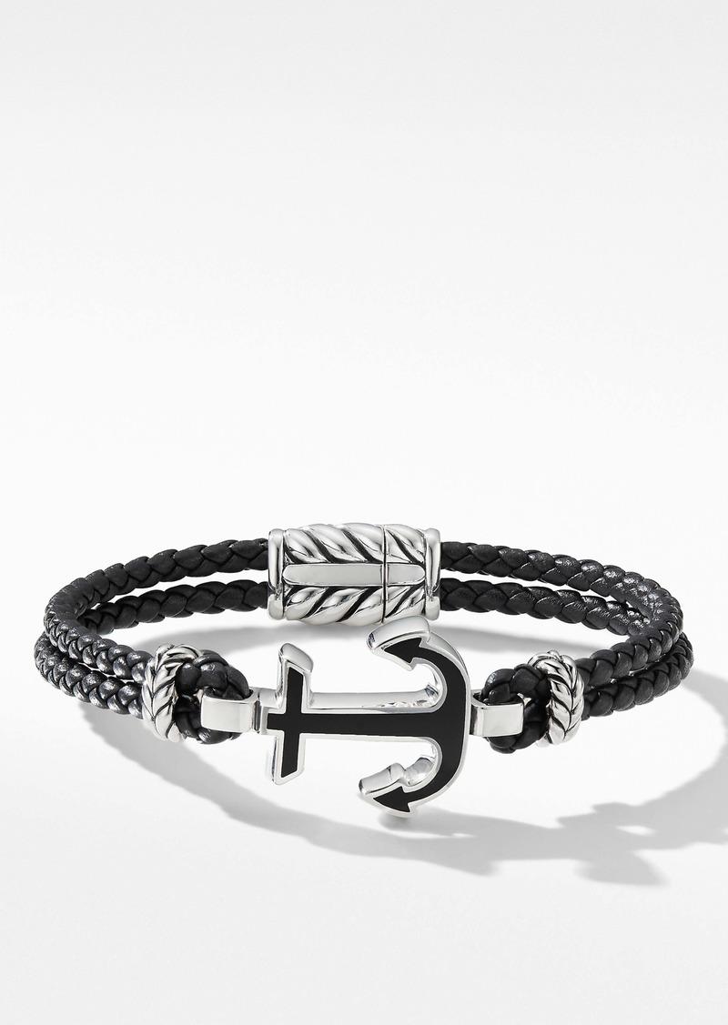 David Yurman Maritime® Anchor Station Black Leather Bracelet with Black Onyx