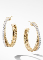 David Yurman Medium Crossover Hoop Earrings with Diamonds