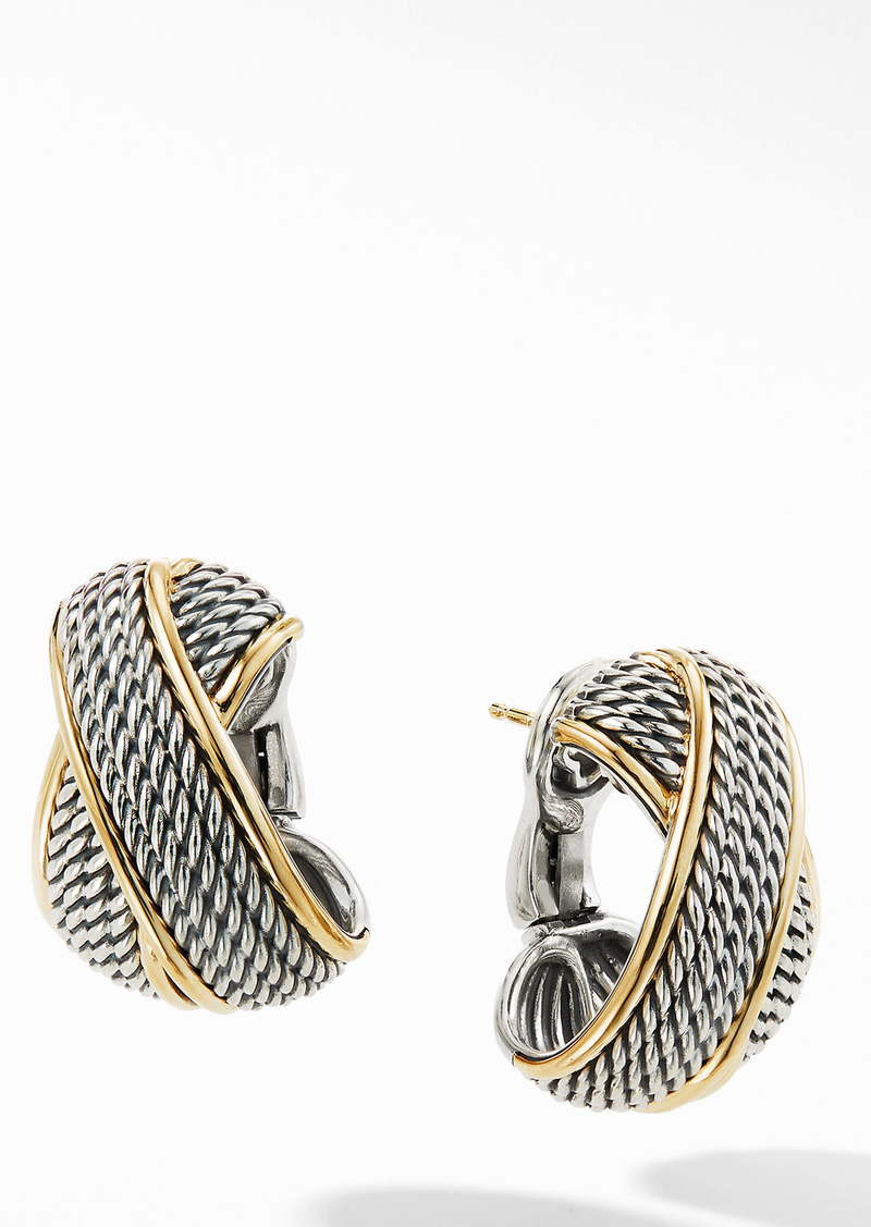 David Yurman Origami Crossover Shrimp Earrings with 18K Yellow Gold