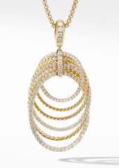 David Yurman Origami Pendant Necklace in 18K Yellow Gold with Diamonds