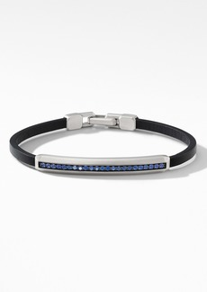 David Yurman Pavé Leather ID Bracelet with Sapphires