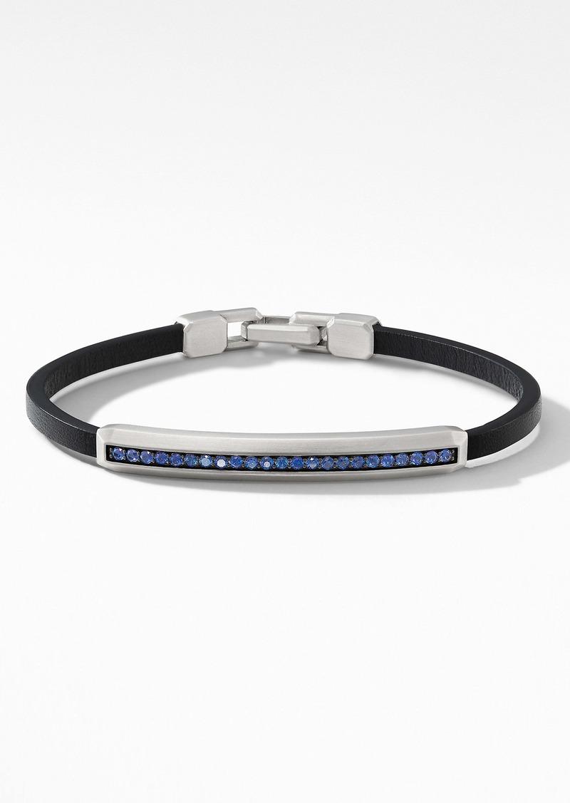 David Yurman Pavé Leather ID Bracelet with Sapphires
